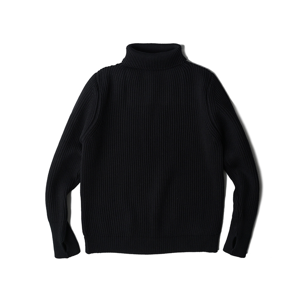 "ANDERSEN-ANDERSEN Navy Turtleneck Symmetrical ""Black"""