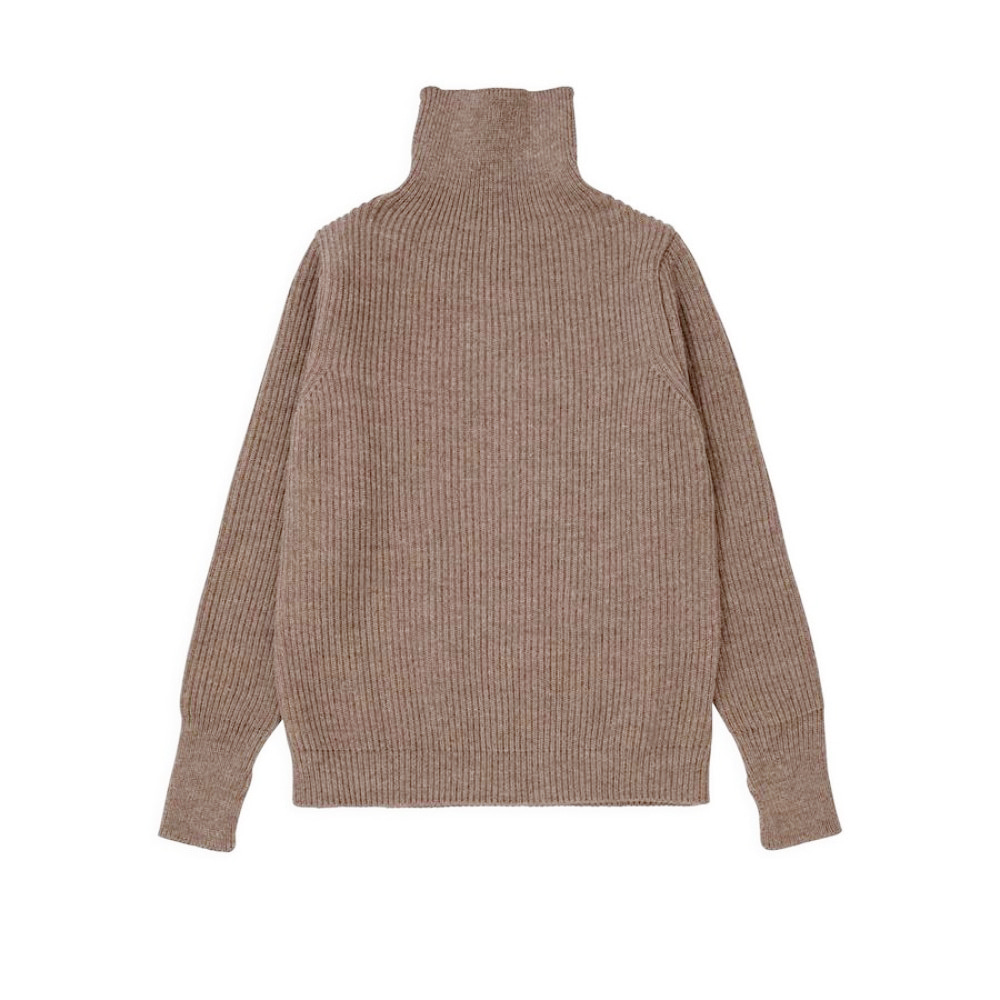 "ANDERSEN-ANDERSEN Navy Turtleneck Symmetrical ""Natural Taupe"""