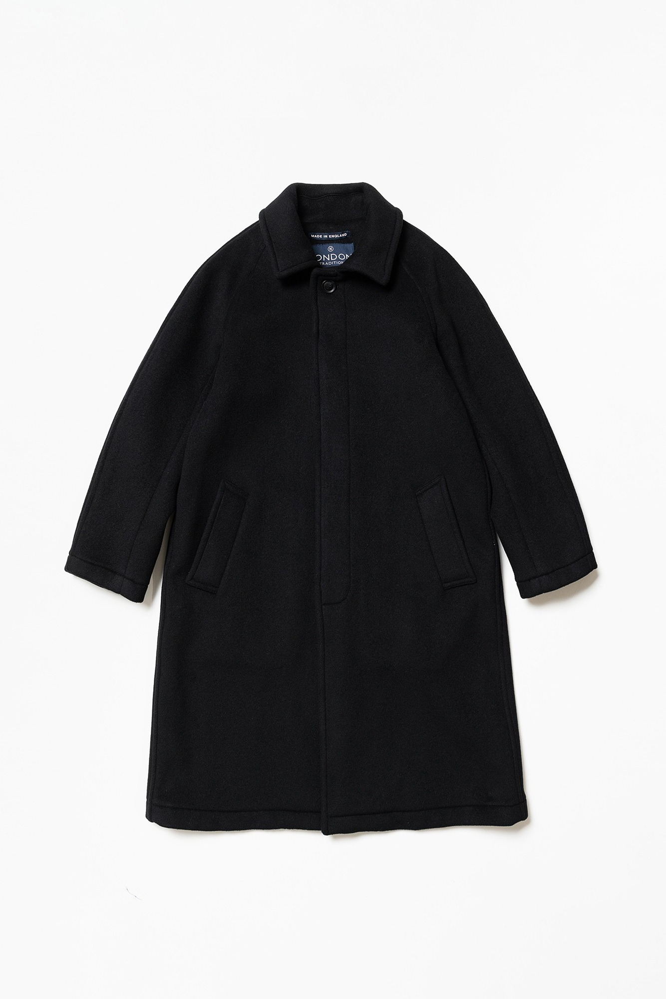 "LONDON TRADITION Mens R06 Fly Front Coat ""Black BW"""